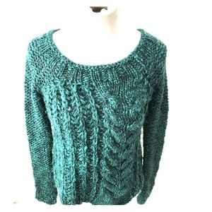Free People green cable knit sweater size xs